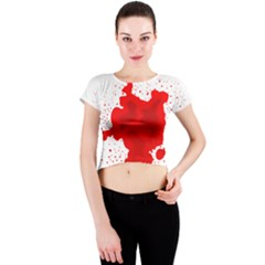 Red Blood Transparent Crew Neck Crop Top