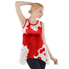 Red Blood Transparent Side Drop Tank Tunic