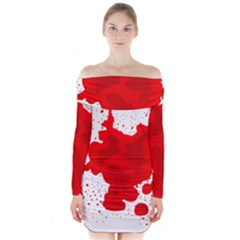 Red Blood Transparent Long Sleeve Off Shoulder Dress