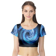 Hole Space Galaxy Star Planet Short Sleeve Crop Top