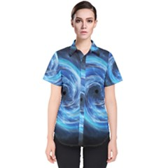 Hole Space Galaxy Star Planet Women s Short Sleeve Shirt