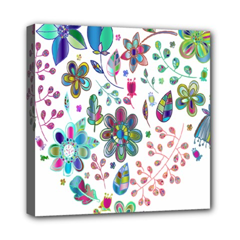 Prismatic Psychedelic Floral Heart Background Mini Canvas 8  X 8