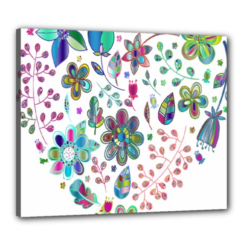 Prismatic Psychedelic Floral Heart Background Canvas 24  X 20