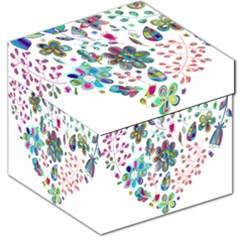 Prismatic Psychedelic Floral Heart Background Storage Stool 12
