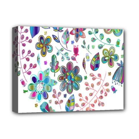Prismatic Psychedelic Floral Heart Background Deluxe Canvas 16  X 12