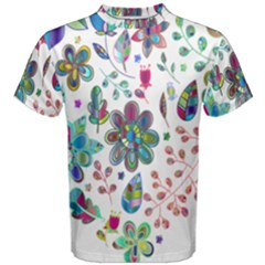 Prismatic Psychedelic Floral Heart Background Men s Cotton Tee