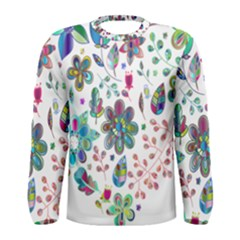 Prismatic Psychedelic Floral Heart Background Men s Long Sleeve Tee
