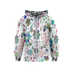 Prismatic Psychedelic Floral Heart Background Kids  Zipper Hoodie