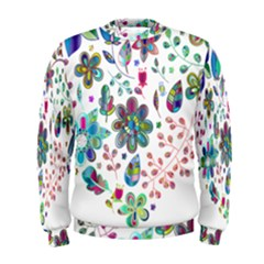 Prismatic Psychedelic Floral Heart Background Men s Sweatshirt