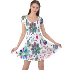 Prismatic Psychedelic Floral Heart Background Cap Sleeve Dress