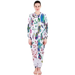 Prismatic Psychedelic Floral Heart Background Onepiece Jumpsuit (ladies)
