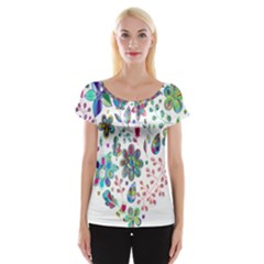 Prismatic Psychedelic Floral Heart Background Cap Sleeve Tops