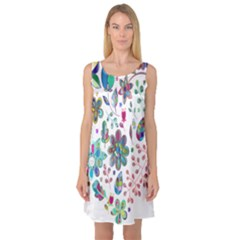 Prismatic Psychedelic Floral Heart Background Sleeveless Satin Nightdress