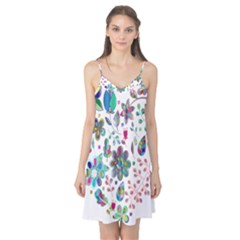 Prismatic Psychedelic Floral Heart Background Camis Nightgown