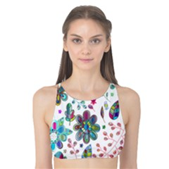 Prismatic Psychedelic Floral Heart Background Tank Bikini Top