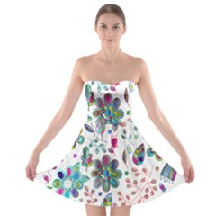 Prismatic Psychedelic Floral Heart Background Strapless Bra Top Dress