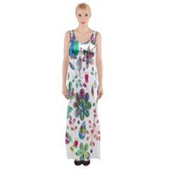 Prismatic Psychedelic Floral Heart Background Maxi Thigh Split Dress