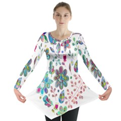 Prismatic Psychedelic Floral Heart Background Long Sleeve Tunic