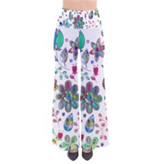 Prismatic Psychedelic Floral Heart Background Pants