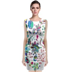 Prismatic Psychedelic Floral Heart Background Classic Sleeveless Midi Dress