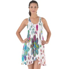 Prismatic Psychedelic Floral Heart Background Show Some Back Chiffon Dress