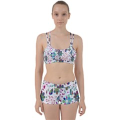 Prismatic Psychedelic Floral Heart Background Women s Sports Set