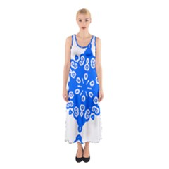 Snowflake Art Blue Cool Polka Dots Sleeveless Maxi Dress