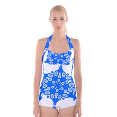 Snowflake Art Blue Cool Polka Dots Boyleg Halter Swimsuit