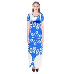 Snowflake Art Blue Cool Polka Dots Short Sleeve Maxi Dress