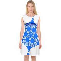 Snowflake Art Blue Cool Polka Dots Capsleeve Midi Dress