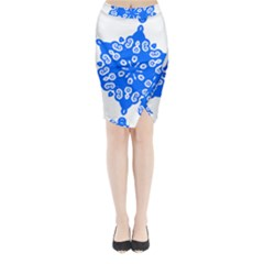 Snowflake Art Blue Cool Polka Dots Midi Wrap Pencil Skirt