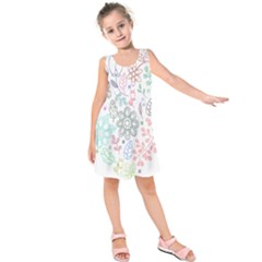 Prismatic Neon Floral Heart Love Valentine Flourish Rainbow Kids  Sleeveless Dress