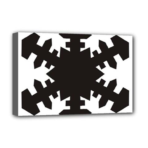 Snowflakes Black Deluxe Canvas 18  X 12