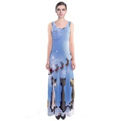 Christmas, Cute Cats Looking In The Sky To Santa Claus Sleeveless Maxi Dress