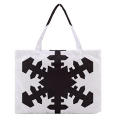 Snowflakes Black Zipper Medium Tote Bag