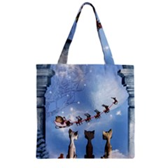 Christmas, Cute Cats Looking In The Sky To Santa Claus Zipper Grocery Tote Bag
