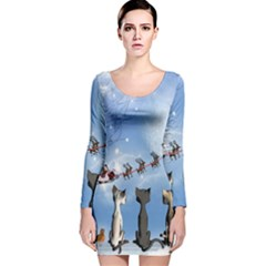 Christmas, Cute Cats Looking In The Sky To Santa Claus Long Sleeve Velvet Bodycon Dress