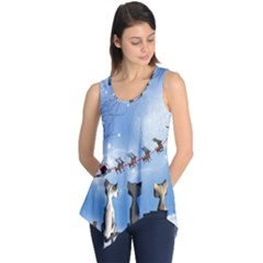 Christmas, Cute Cats Looking In The Sky To Santa Claus Sleeveless Tunic