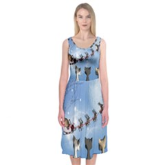 Christmas, Cute Cats Looking In The Sky To Santa Claus Midi Sleeveless Dress