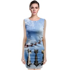 Christmas, Cute Cats Looking In The Sky To Santa Claus Classic Sleeveless Midi Dress