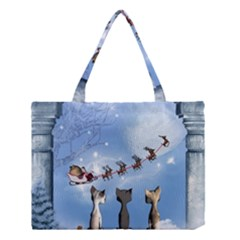 Christmas, Cute Cats Looking In The Sky To Santa Claus Medium Tote Bag