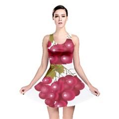 Red Fruit Grape Reversible Skater Dress