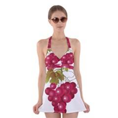 Red Fruit Grape Halter Swimsuit Dress