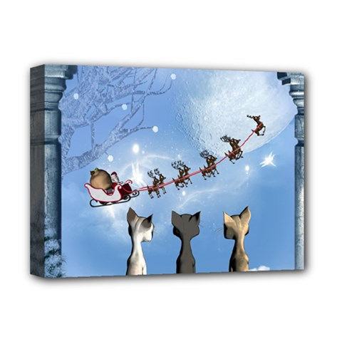 Christmas, Cute Cats Looking In The Sky To Santa Claus Deluxe Canvas 16  X 12
