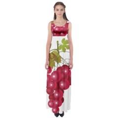 Red Fruit Grape Empire Waist Maxi Dress