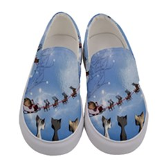 Christmas, Cute Cats Looking In The Sky To Santa Claus Women s Canvas Slip Ons
