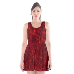 Simulation Red Water Waves Light Scoop Neck Skater Dress