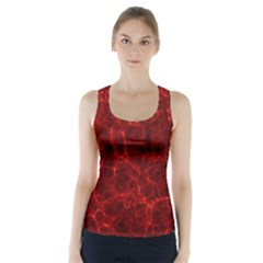 Simulation Red Water Waves Light Racer Back Sports Top