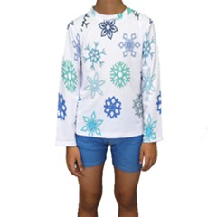 Snowflakes Blue Green Star Kids  Long Sleeve Swimwear