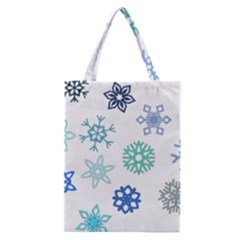 Snowflakes Blue Green Star Classic Tote Bag